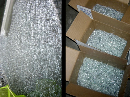 Image: boxes with scattered tempered glass